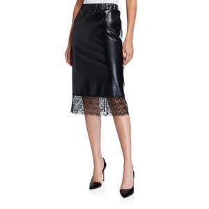 MICHAEL MICHAEL KORS | Leather & Lace Pencil Skirt